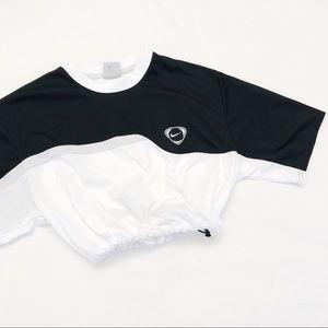 Black and white Nike drawstring crop